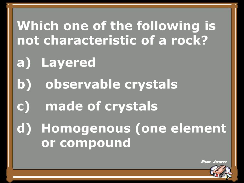 Which one of the following is not characteristic of a rock Layered