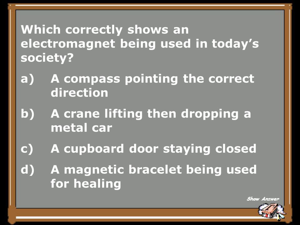Which correctly shows an electromagnet being used in today's society