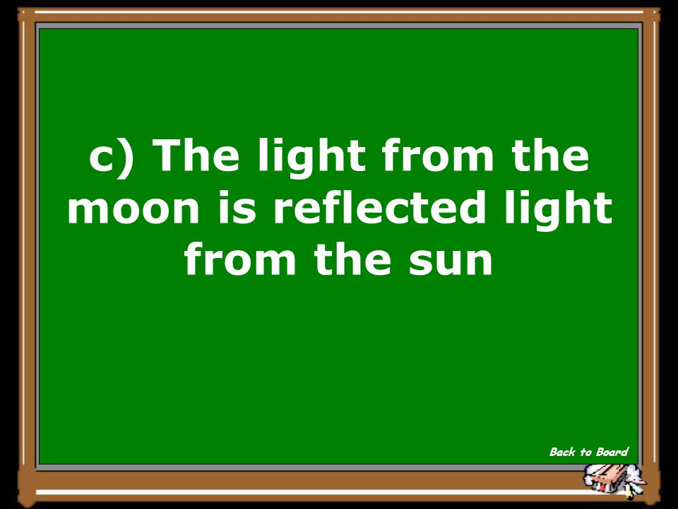 c) The light from the moon is reflected light from the sun