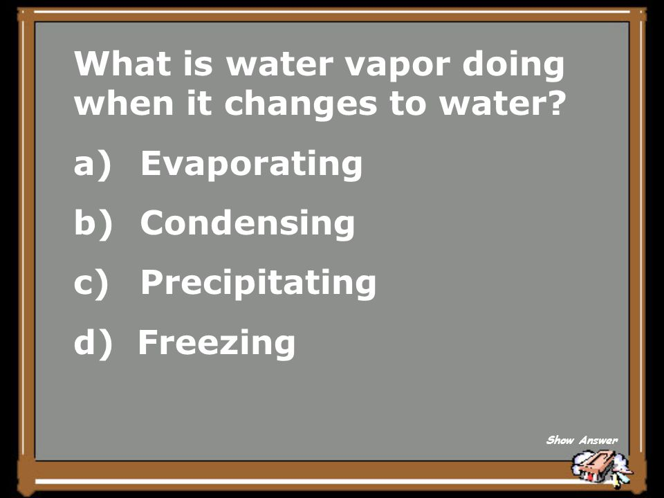 What is water vapor doing when it changes to water Evaporating