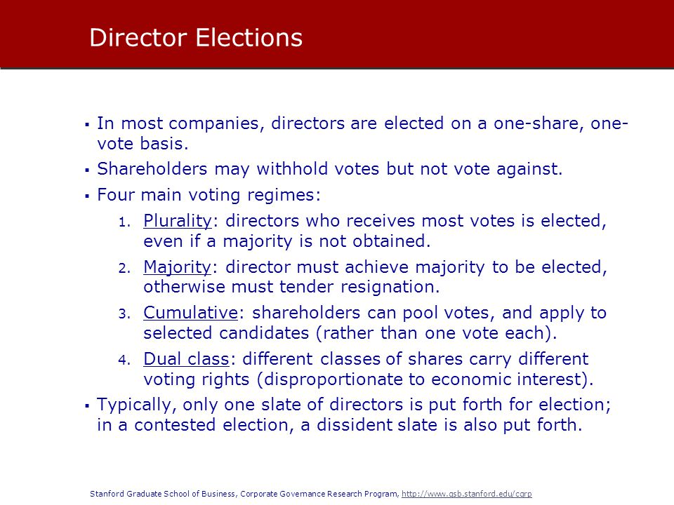 Director Elections In most companies, directors are elected on a one-share, one- vote basis. Shareholders may withhold votes but not vote against.