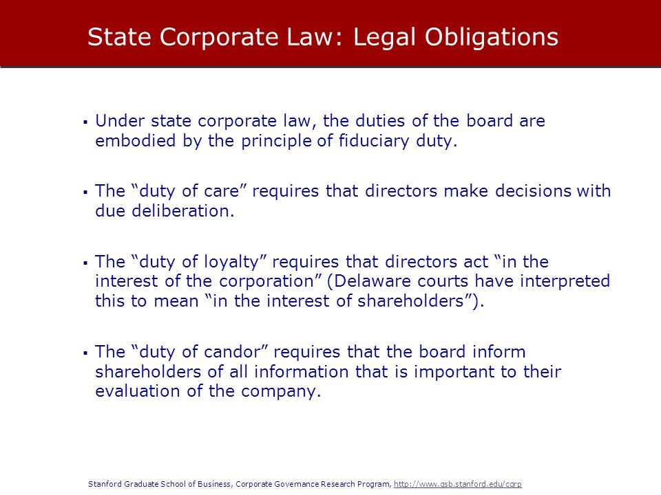 State Corporate Law: Legal Obligations