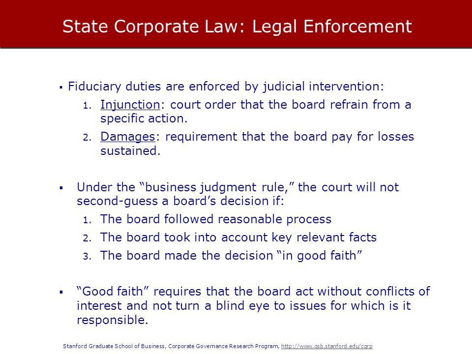 State Corporate Law: Legal Enforcement