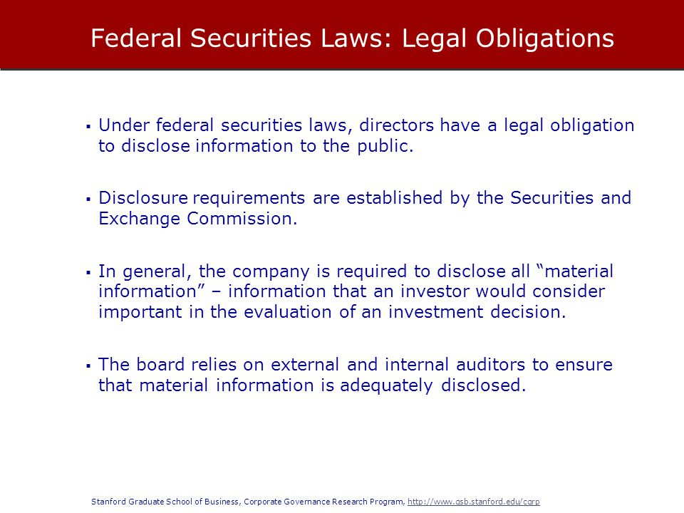 Federal Securities Laws: Legal Obligations