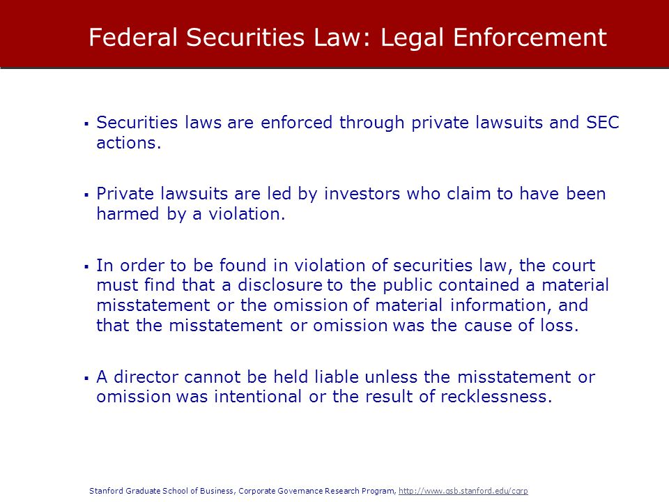 Federal Securities Law: Legal Enforcement