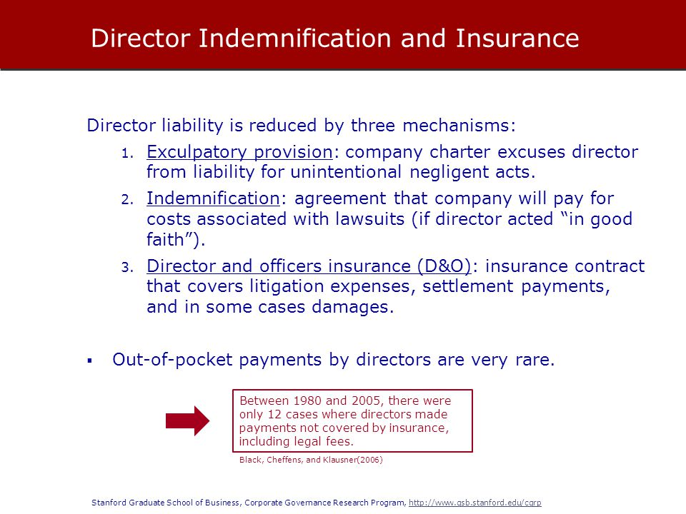 Director Indemnification and Insurance