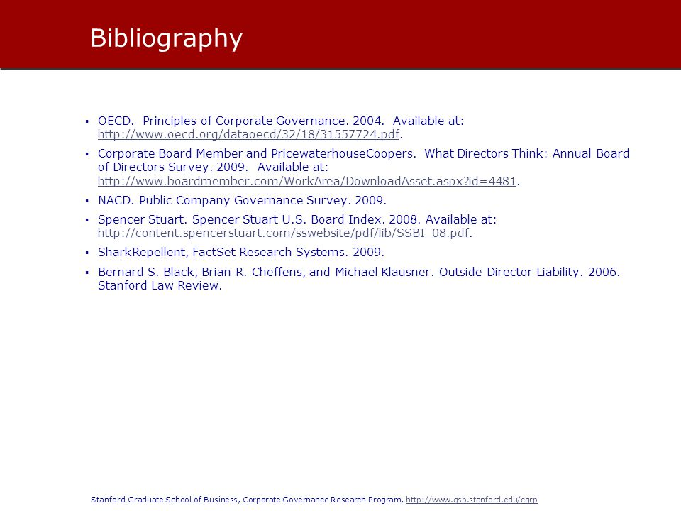Bibliography OECD. Principles of Corporate Governance. 2004. Available at: http://www.oecd.org/dataoecd/32/18/31557724.pdf.