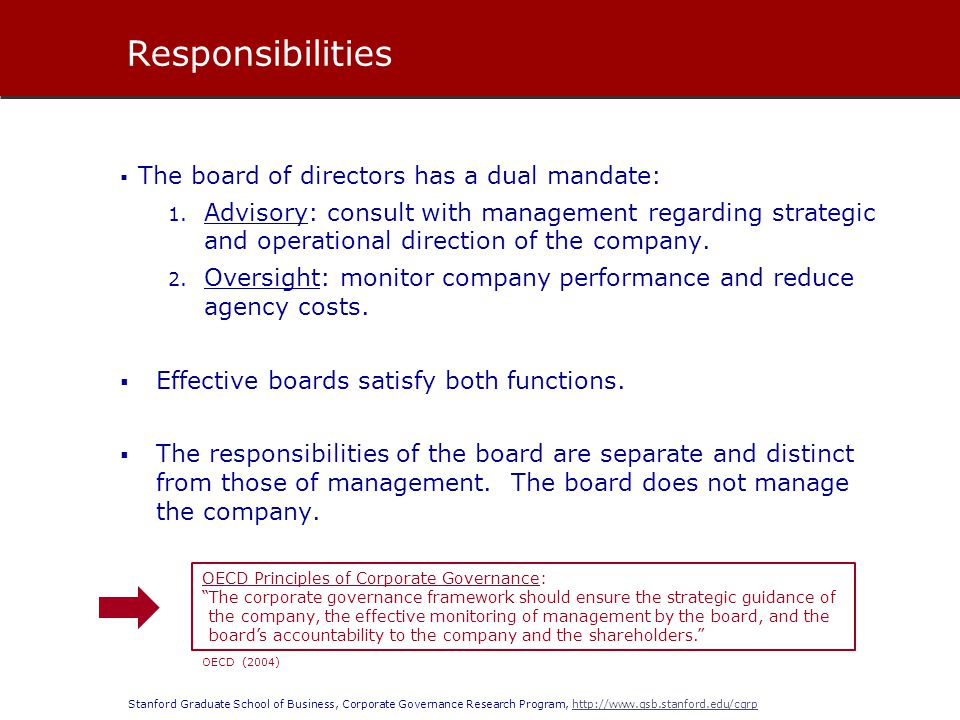 Responsibilities The board of directors has a dual mandate: