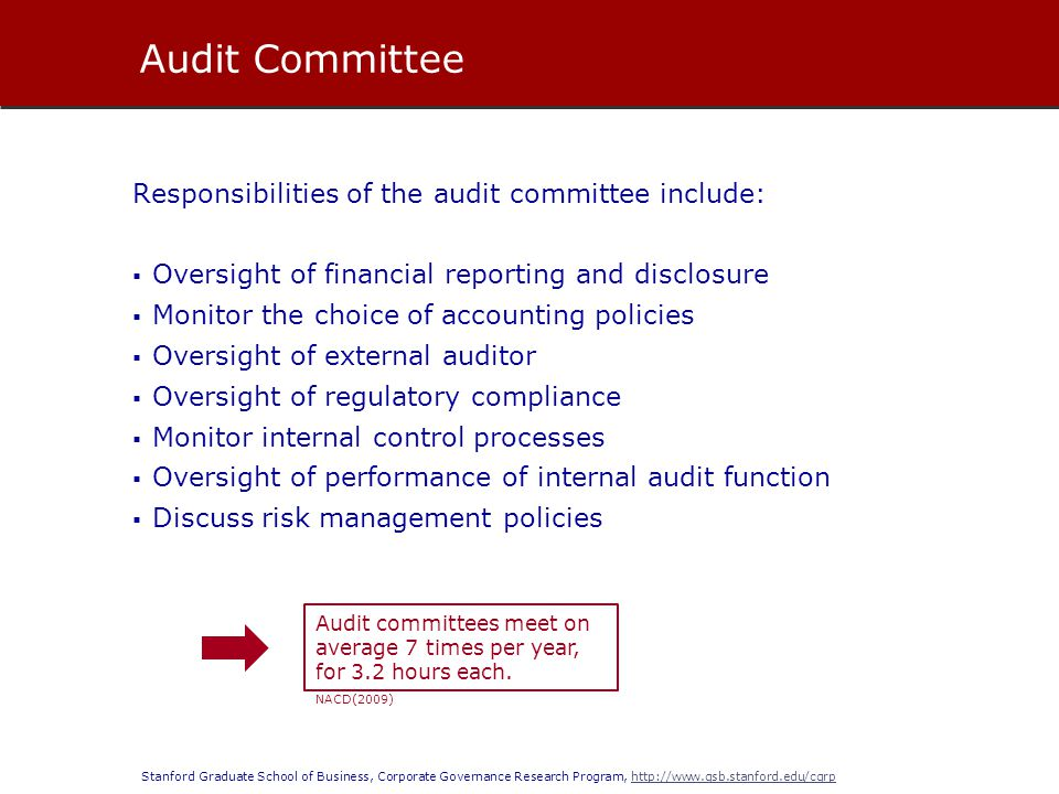 Audit Committee Responsibilities of the audit committee include: