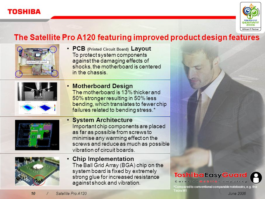The Satellite Pro A120 featuring improved product design features