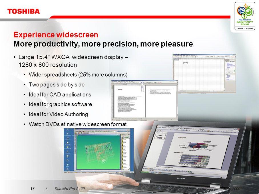 Experience widescreen More productivity, more precision, more pleasure