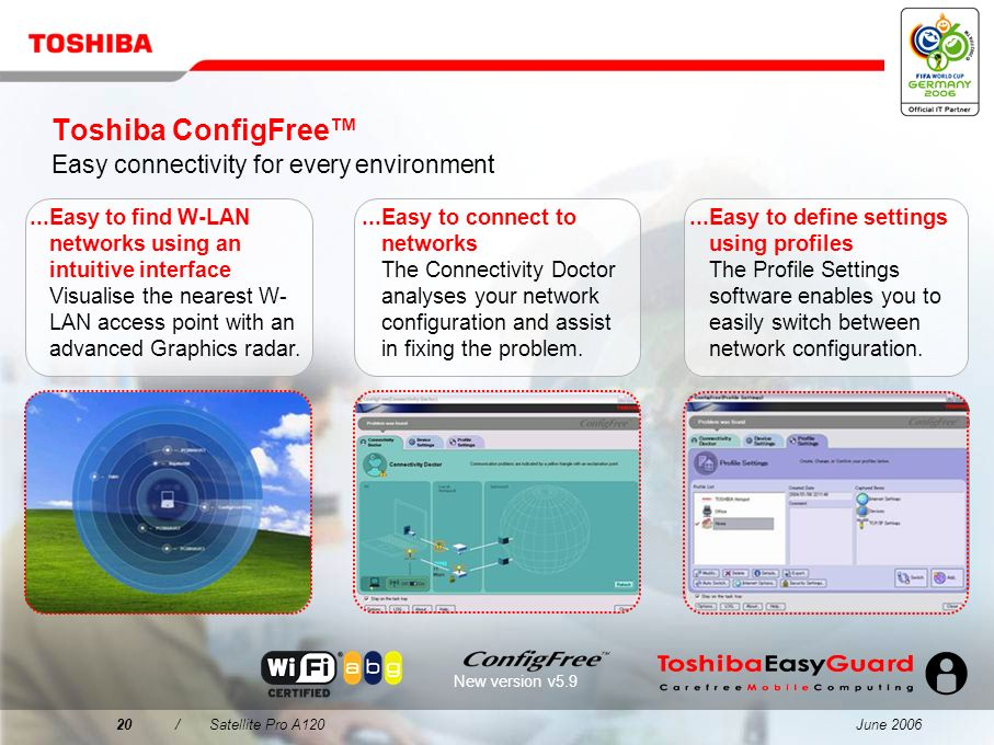 Toshiba ConfigFree™ Easy connectivity for every environment