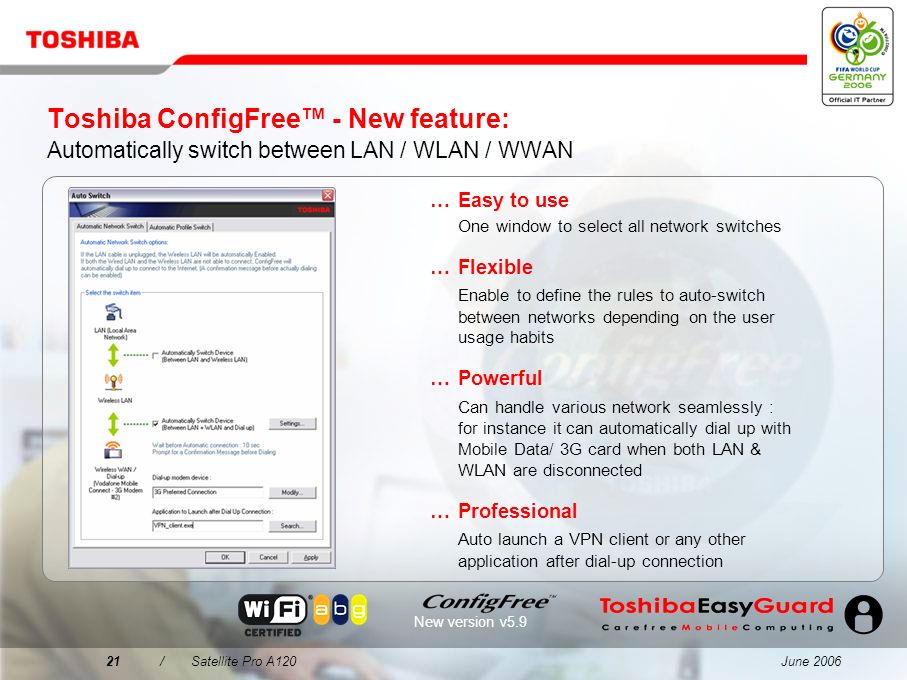 Toshiba ConfigFree™ - New feature: Automatically switch between LAN / WLAN / WWAN