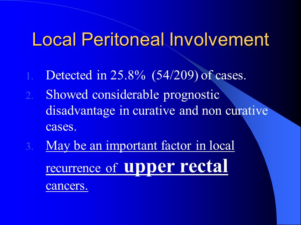 Local Peritoneal Involvement