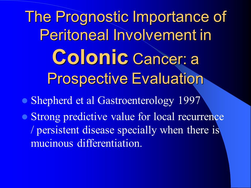 The Prognostic Importance of Peritoneal Involvement in Colonic Cancer: a Prospective Evaluation
