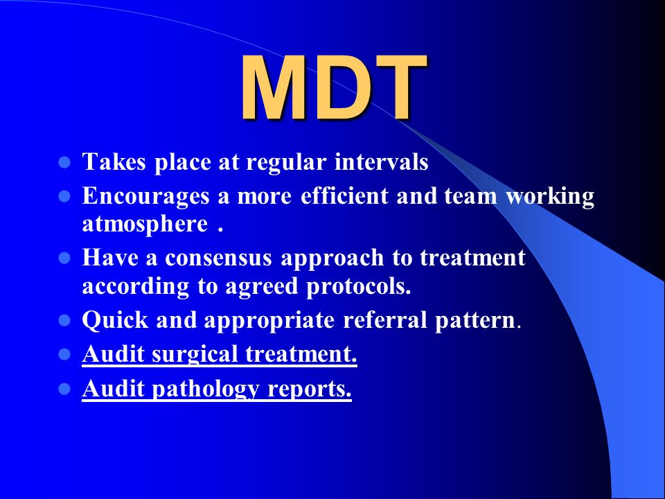 MDT Takes place at regular intervals