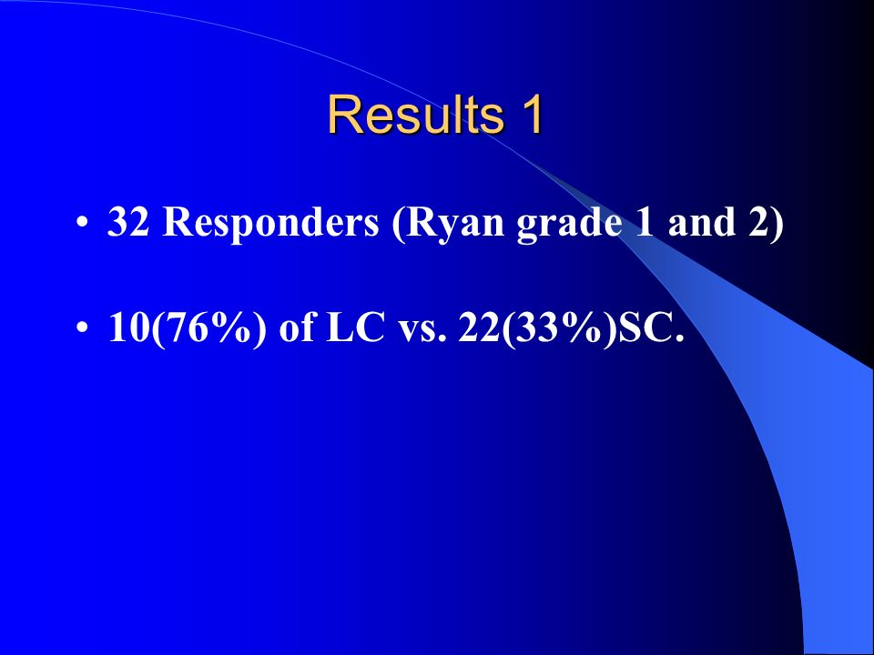 Results 1 32 Responders (Ryan grade 1 and 2)