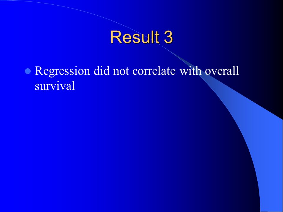 Result 3 Regression did not correlate with overall survival