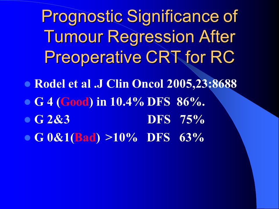 Prognostic Significance of Tumour Regression After Preoperative CRT for RC