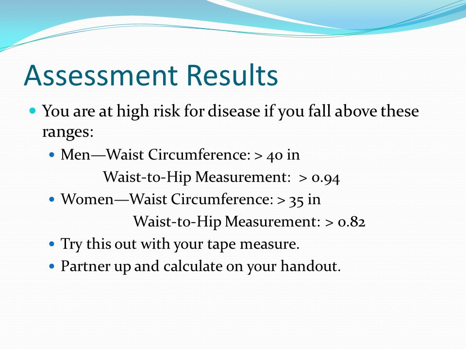Assessment Results You are at high risk for disease if you fall above these ranges: Men—Waist Circumference: > 40 in.