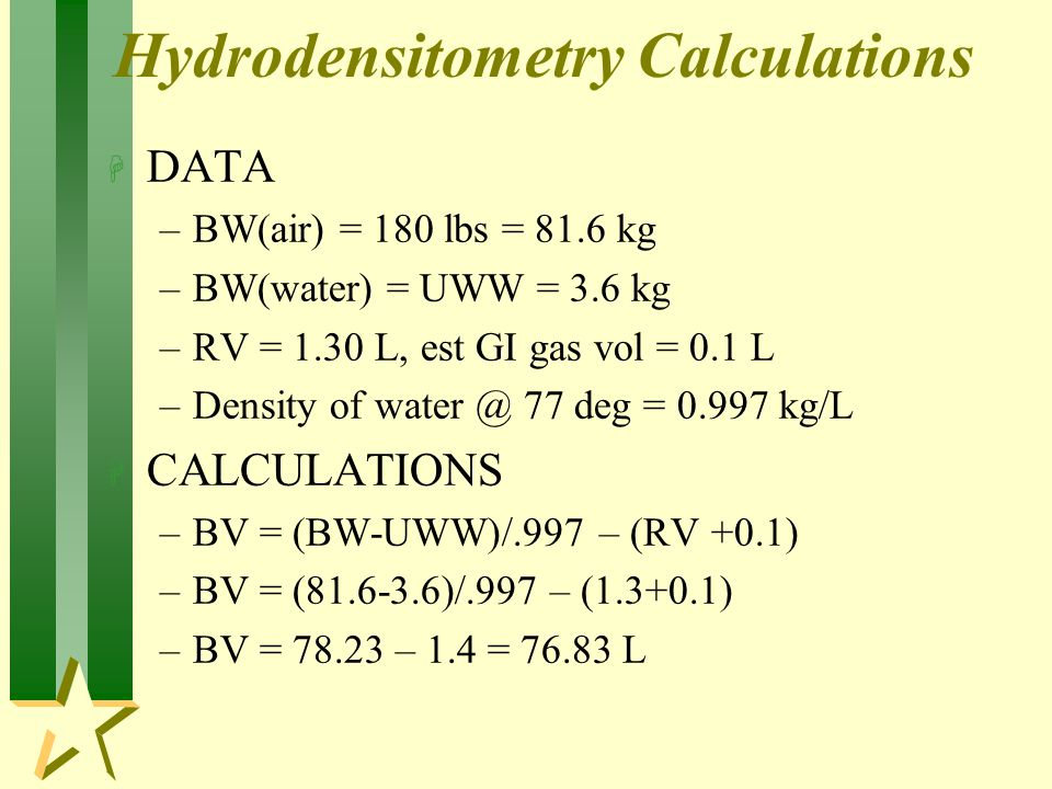 Hydrodensitometry Calculations