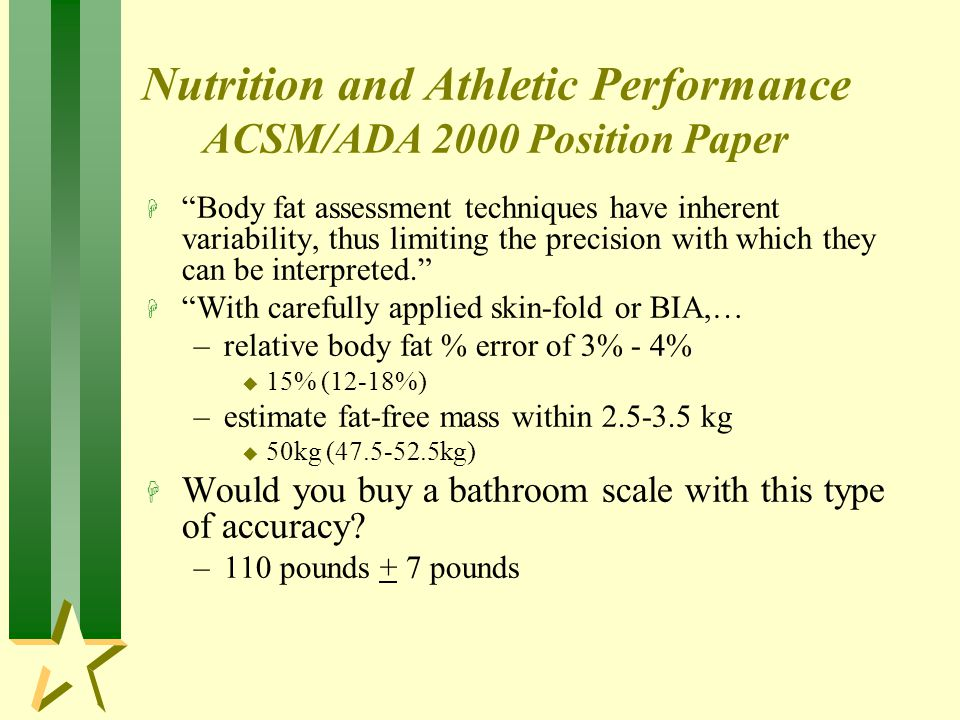 Nutrition and Athletic Performance ACSM/ADA 2000 Position Paper