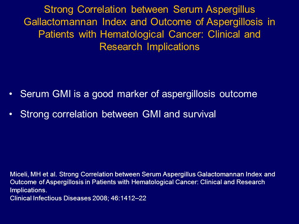 Strong Correlation between Serum Aspergillus Gallactomannan Index and Outcome of Aspergillosis in Patients with Hematological Cancer: Clinical and Research Implications