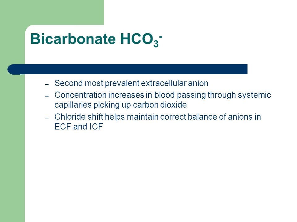 Bicarbonate HCO3- Second most prevalent extracellular anion