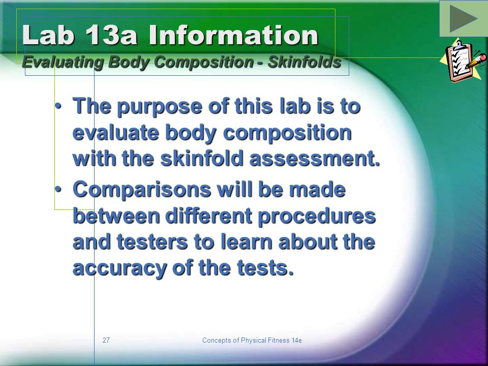 Lab 13a Information Evaluating Body Composition - Skinfolds