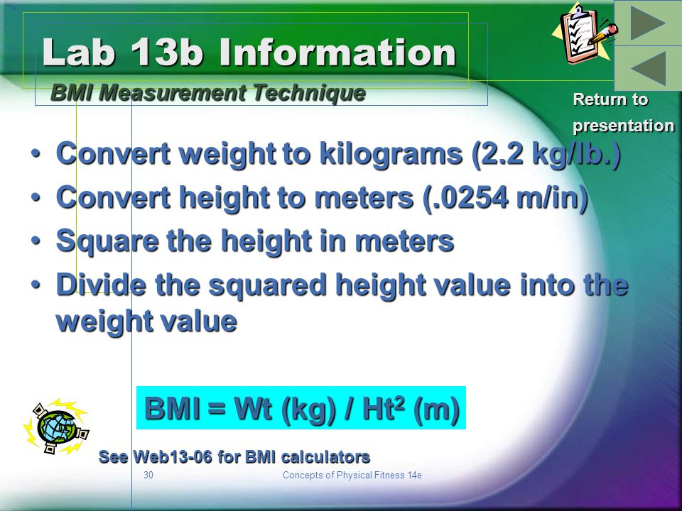 Lab 13b Information BMI Measurement Technique