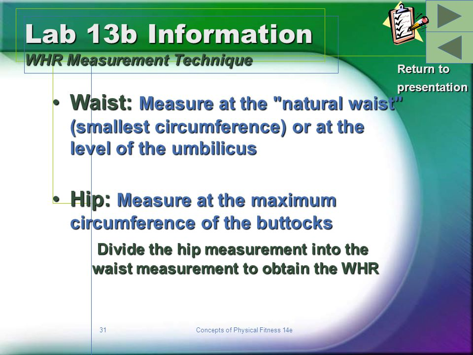 Lab 13b Information WHR Measurement Technique