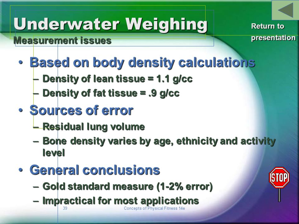 Underwater Weighing Measurement issues
