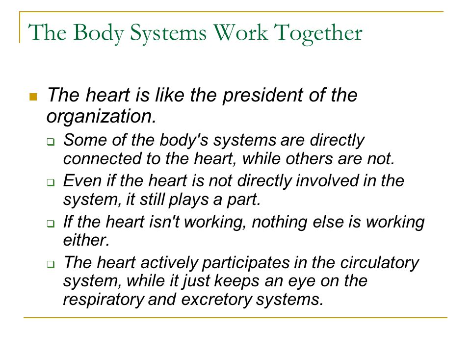 The Body Systems Work Together