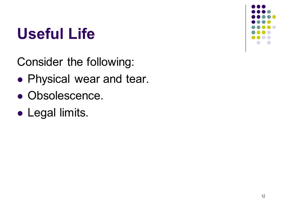 Useful Life Consider the following: Physical wear and tear.