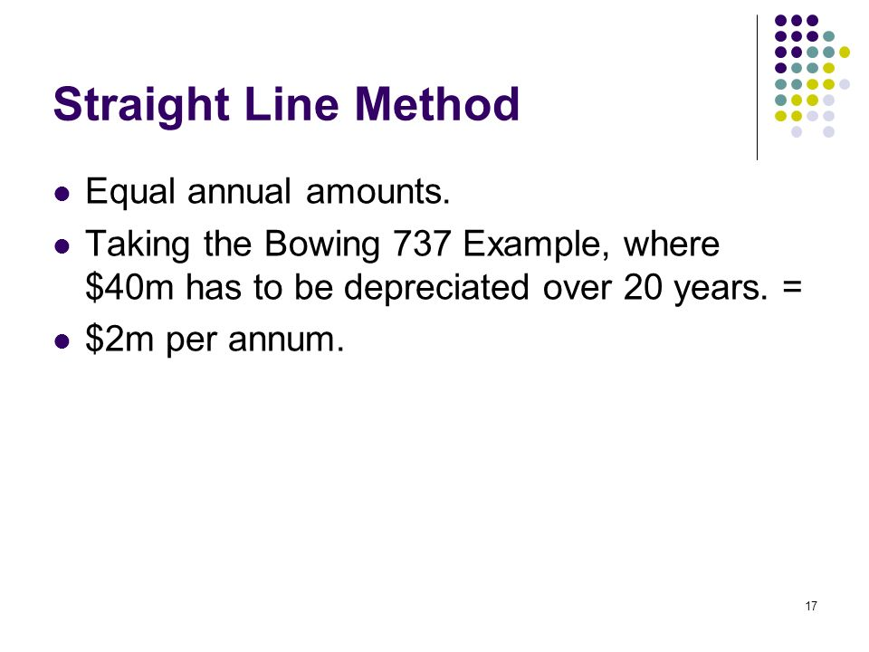 Straight Line Method Equal annual amounts.