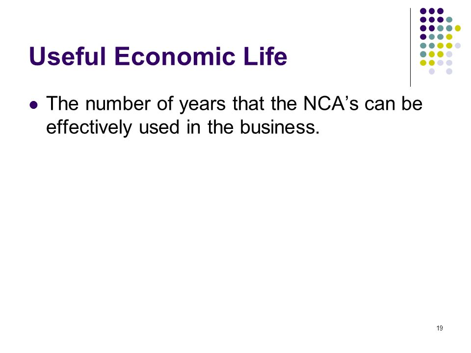 Useful Economic Life The number of years that the NCA's can be effectively used in the business.