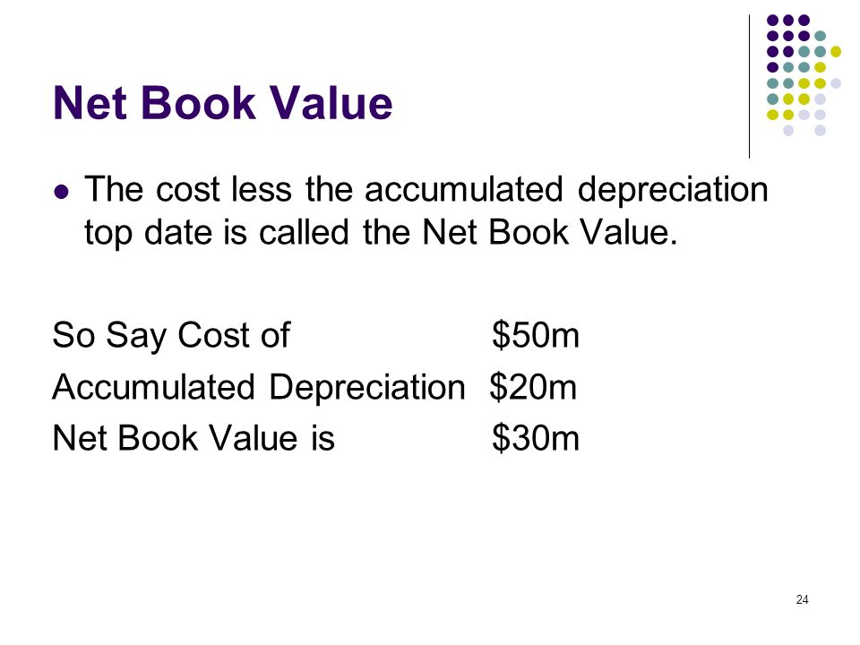 Net Book ValueThe cost less the accumulated depreciation top date is called the Net Book Value. So Say Cost of $50m.