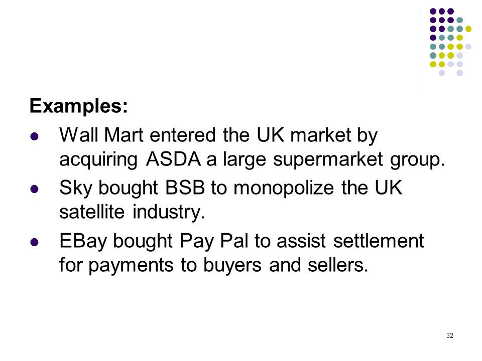Examples: Wall Mart entered the UK market by acquiring ASDA a large supermarket group. Sky bought BSB to monopolize the UK satellite industry.