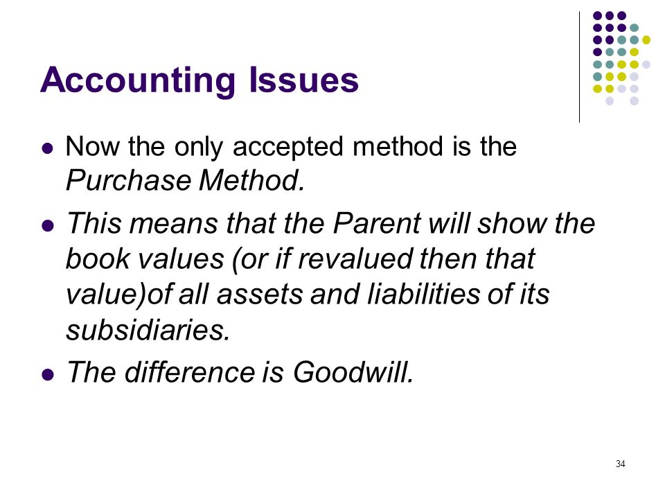 Accounting Issues Now the only accepted method is the Purchase Method.
