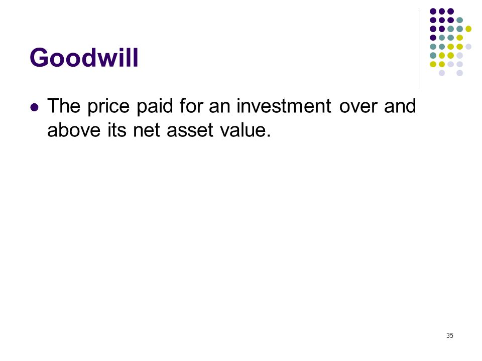 Goodwill The price paid for an investment over and above its net asset value.