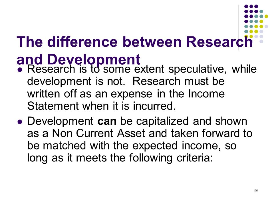 The difference between Research and Development