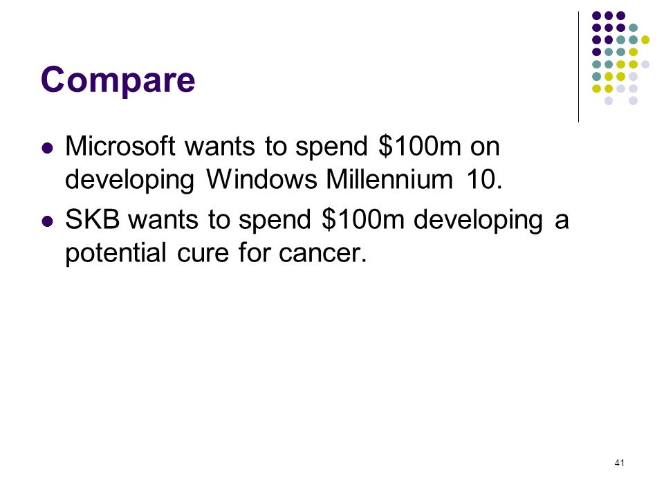 Compare Microsoft wants to spend $100m on developing Windows Millennium 10.