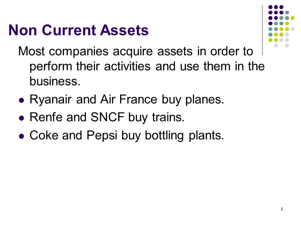 Non Current Assets Most companies acquire assets in order to perform their activities and use them in the business.