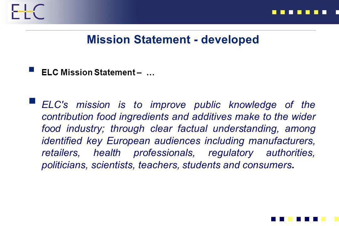 Mission Statement - developed