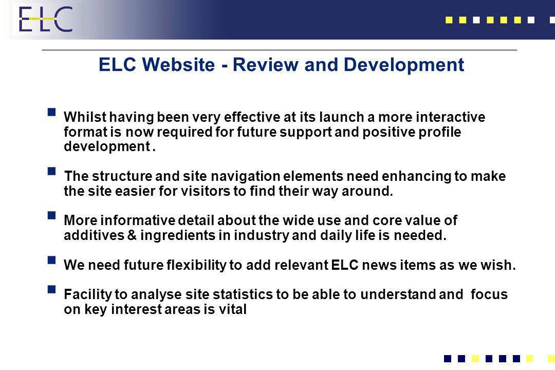 ELC Website - Review and Development
