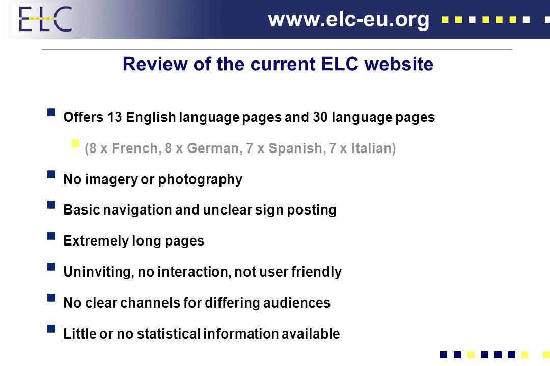 Review of the current ELC website
