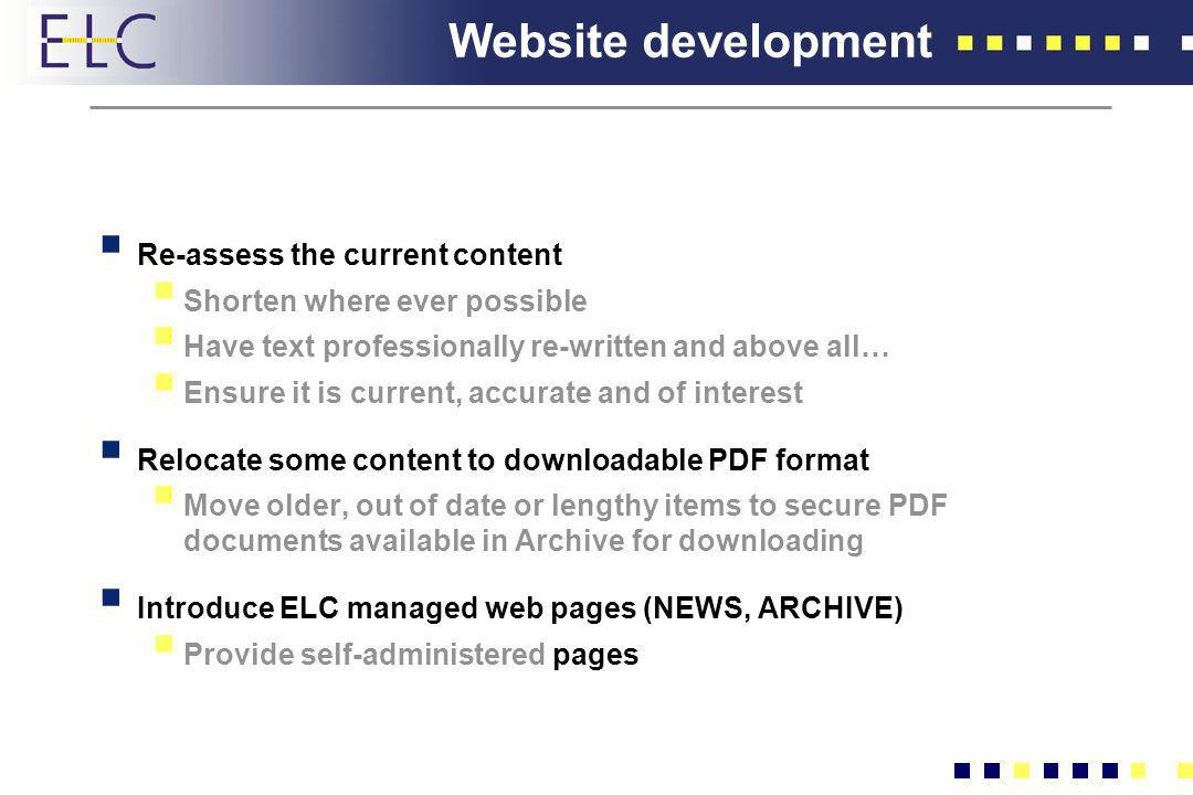 Website development Re-assess the current content