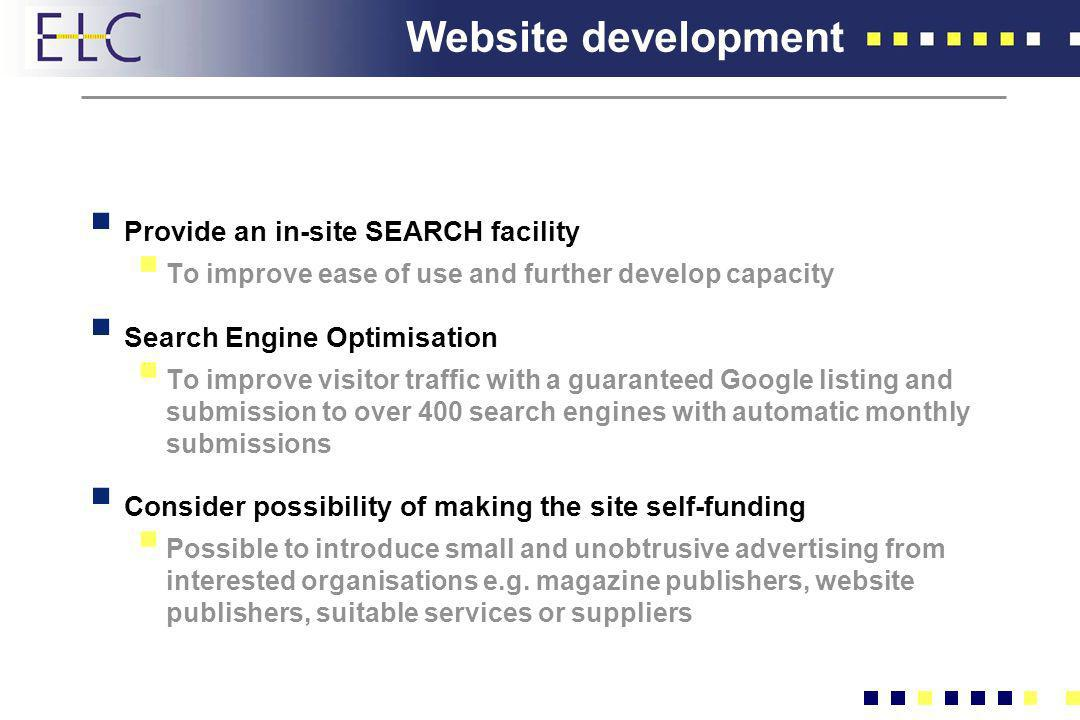 Website development Provide an in-site SEARCH facility