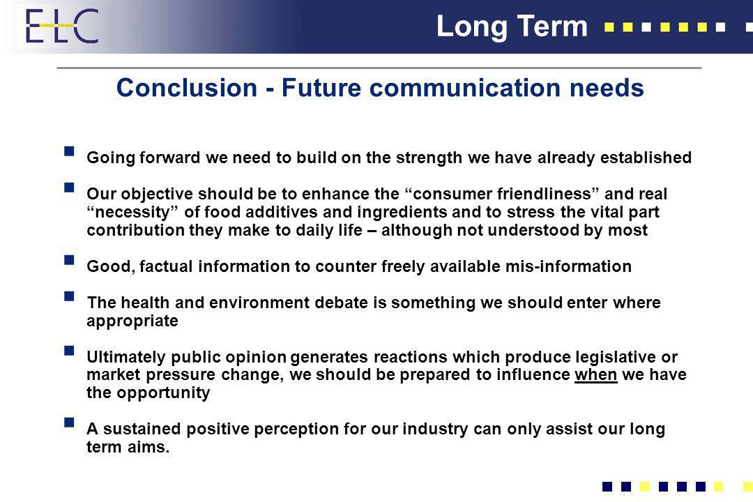 Conclusion - Future communication needs