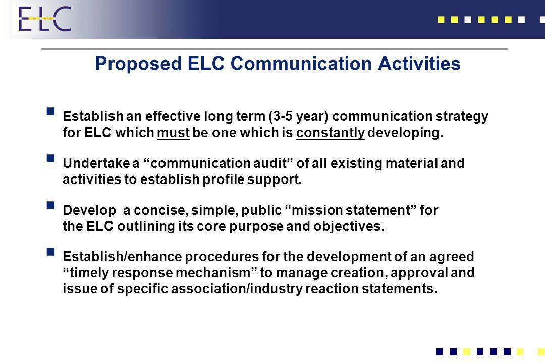 Proposed ELC Communication Activities